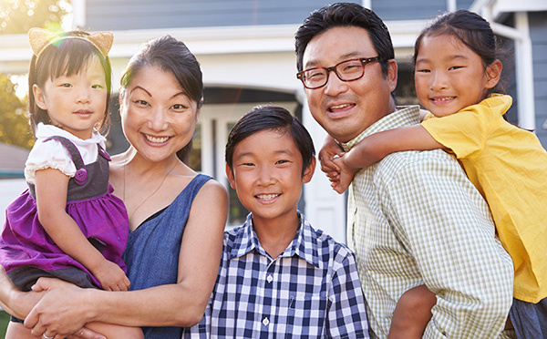 Young family with kids